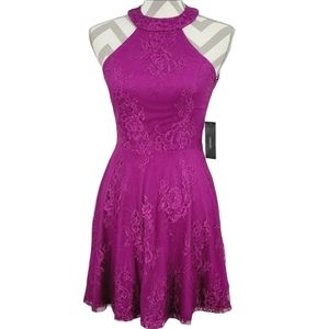Lulu's Truly Stunning Dark Magenta Skater Dress